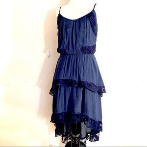 Lily Rose Navy Blue Tiered Maxi Dress Hi Low